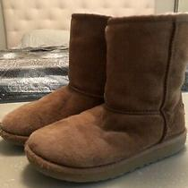 Kids Ugg Boots 5251 Short Chestnut Suede Shearling Boots Youth Sz 2 Photo