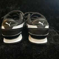 Kids Unisex Black/white Puma Leather and Mesh Sneakers - Size 11.5 Photo