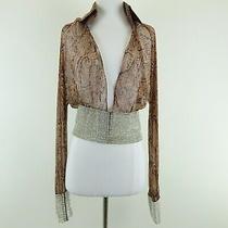 Kim Kardashian West Dolce & Gabbana Brown v Neck Jem Stone Cuff Blouse Size 42 Photo