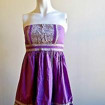 Kimchi Blue Strapless Purple Gray Xs Dress 100% Cotton Anthropologie Lilac Lace Photo