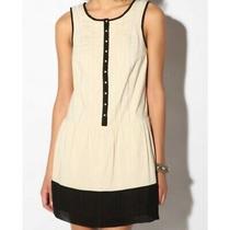 Kimchi Blue Urban Outfitters Cream Black Fit Flare Dress Sz M Womens Cotton  Photo