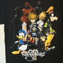 Kingdom Hearts Video Game Final Fantasy Disney Characters Black T Shirt L Photo