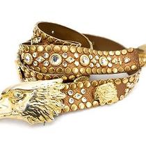 Kippys Belt Bronze Leather Swarovski Crystals Gold Studs Eagle Buckle Italy S M Photo