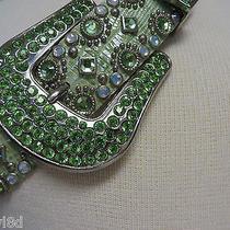 Kippys Belt Peridot Green 34  Swarovski Crystal Cowgirl Holiday Golf Beautiful Photo