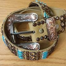 Kippys Southwestern Leather Belt Swarovski Crystals Turquoise Like Beads Sz 30 Photo