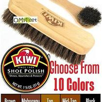 Kiwi Shoe Wax Can Polish Shine Horse-Hair Brush and Applicator Kit Set Photo