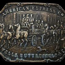 Kj21109 Vintage 1970s American Express Co Old West Scene Belt Buckle Photo
