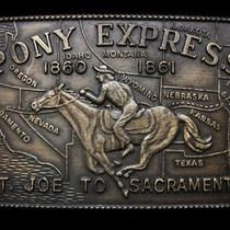 Kj21145 Vintage 1970s Pony Express 1860-1861 St. Joe to Sacramento Belt Buckle Photo