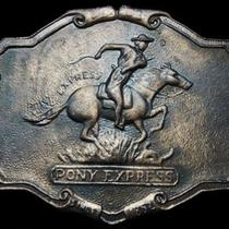 Kl01132 Vintage 1970s Pony Express Since 1852 Commemorative Belt Buckle Photo