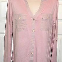 Knapp Studio Long Sleeve or Roll & Button Pocket Blush Pink Blouse Top Shirt M Photo