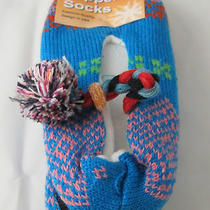 Knit Slipper Socks Booties Native American Aztec Womens 9-11 Aqua No Slip Sole Photo