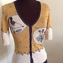 Knitted and Knotted Anthropologie Xs Yellow Bird Short Sleeve Sweater Top Photo