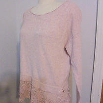 Knitted & Knotted Anthropologie Bloom Lace Pullover Sweater  Blush Pink Mxdn8 Photo