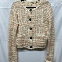 Knitted & Knotted Soft Cardigan Blush Pink & Cream Basketweave Anthropologie Med Photo