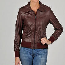 Knoles & Carter -   Women's Leather Bomber Jacket  Brown Photo