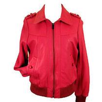Knoles & Carter -   Women's Leather Bomber Jacket Burgundy Photo