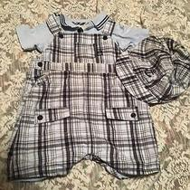 Koala Baby Boutique 3 Piece Nautical Plaid Overall Set With Cap 6-9 Months Photo