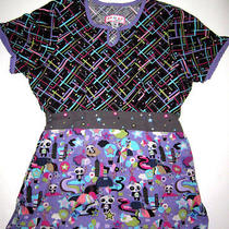 Koi Layla Uniform Scrub Nursing Top Panda Heart Star Design Bright Colorful Xs Photo