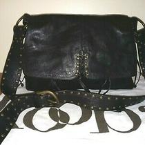 Kooba Annie Corset Lace Large Black Leather Hobo Shoulder Bag Tote Mint Photo