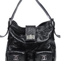 Kooba Textured Finish Patent Black Leather Hobo Shoulder Bag Purse Large Size Photo