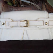Kooba Winter White Leather Josie Baguette Purse Evening Hand Bag Clutch Wristlet Photo