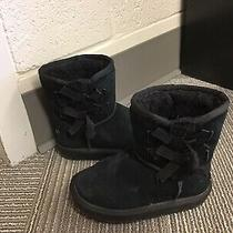 Koolaburra by Ugg Girls Youth 9 Kids Pull on Winter Boots Black Suede Fur Lined Photo