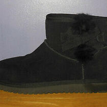 Koolaburra by Ugg Victoria Mini Black Suede Shearling Ankle Boots Women's Size 8 Photo