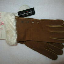 Koolaburra by Ugg Water Resistant Chestnut Suede Leather Faux Fur Cuff New Photo