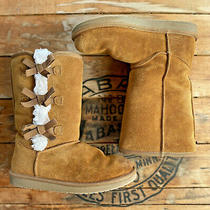 Koolaburra by Ugg Women's Size 5 Chestnut Suede Victoria Tall Boots With Bows Photo