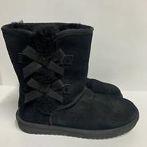 Koolaburra by Ugg Womens Size 8 Victoria Short Black Boots With Bows 1015874 Photo