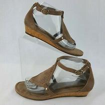 Koolaburra Ugg Size 9 Briona Sandals Brown Perforated Suede T-Strap Cork Wedge Photo