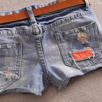 Korea Women Old Color Denim Low Waist Fancy Hole Sexy Short Shorts Hot Pants D65 Photo