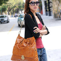 Korean Fashion Women Girl Large Pu Leather Shoulder Handbag Tote Hobo Bag J Tan Photo