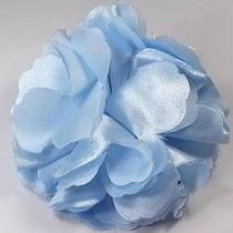 Korean Style Glossy Blue Satin Fabric Flower Lady Fashion Fancy Hair Clip Brooch Photo