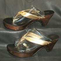 Kors Michael Kors Gold Glove Leather Thong Mule Sandal Clog Women's Shoes Sz 8 M Photo