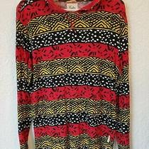 Koto for Urban Outfitters Red Patterned Pullover Hooded Sweater Pocket M Photo