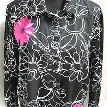 Krazy Kat Black White Floral 100% Cotton Jacket Sz M Hot Pink Embroiderd Flower Photo