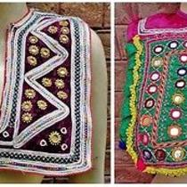 Kuchi Afghan 1800s Vintage Tribal Boho Bally Dancing Costume 2x Choli Crop Top Photo