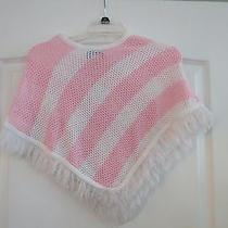 L.a. Express Kids Pink & White Crocheted Fringed Shawl Sweater  Osfm  Photo