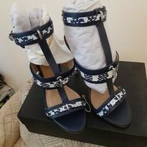 l.a.m.b. Blue/white Leather Strappy Heels Women's Shoes Size 10.new Photo
