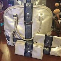 l.a.m.b. Gwen Stefani Glazed Silver Lucca Tote With Cosmetics Bag and Wallet Photo
