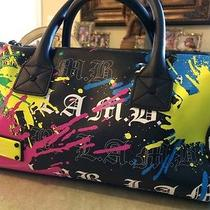 l.a.m.b Gwen Stefani Graffiti Paint Black Speedy Purse Photo