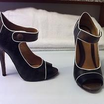 l.a.m.b 'Hanah' Leather Open Toe Mary Jane Pumps Heels Sz 7.5 Photo