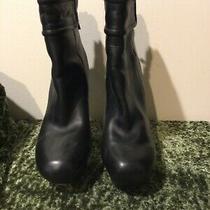L a M B Lamb Black Leather Platform High Heels Ankle Zip Back Booties Boots 8.5 Photo