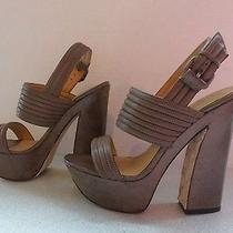 l.a.m.b. Mabelle  Sz 10 Brown Leather Platforms Sandals Shoes 375 Mint Photo