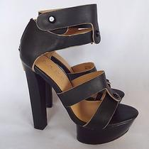 l.a.m.b. Mollie Black Leather Ankle Strap Zip Back Heels Platform Sandals -5.5m Photo