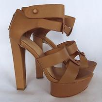 l.a.m.b. Mollie Tan Leather Ankle Strap Zip Back Heels Platform Sandals Sz 5.5m Photo