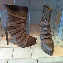 l.a.m.b. Pipette Taupe Tan Leather Strappy Platform Ankle Boots Heels Sz 8 Photo