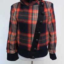 l.a.m.b. Plaid Bomber Jacket With Diagonal Placket Red/navy Size 4 Gently Worn Photo