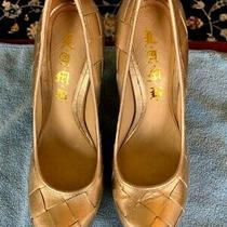 l.a.m.b. Shoes Gold Leather Upper & Sole Pumps Heels  Size 6.5 M Made in Brazil Photo